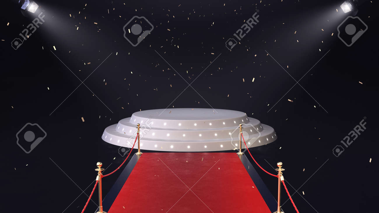 3d render red carpet with podium and falling confetti - 170091173