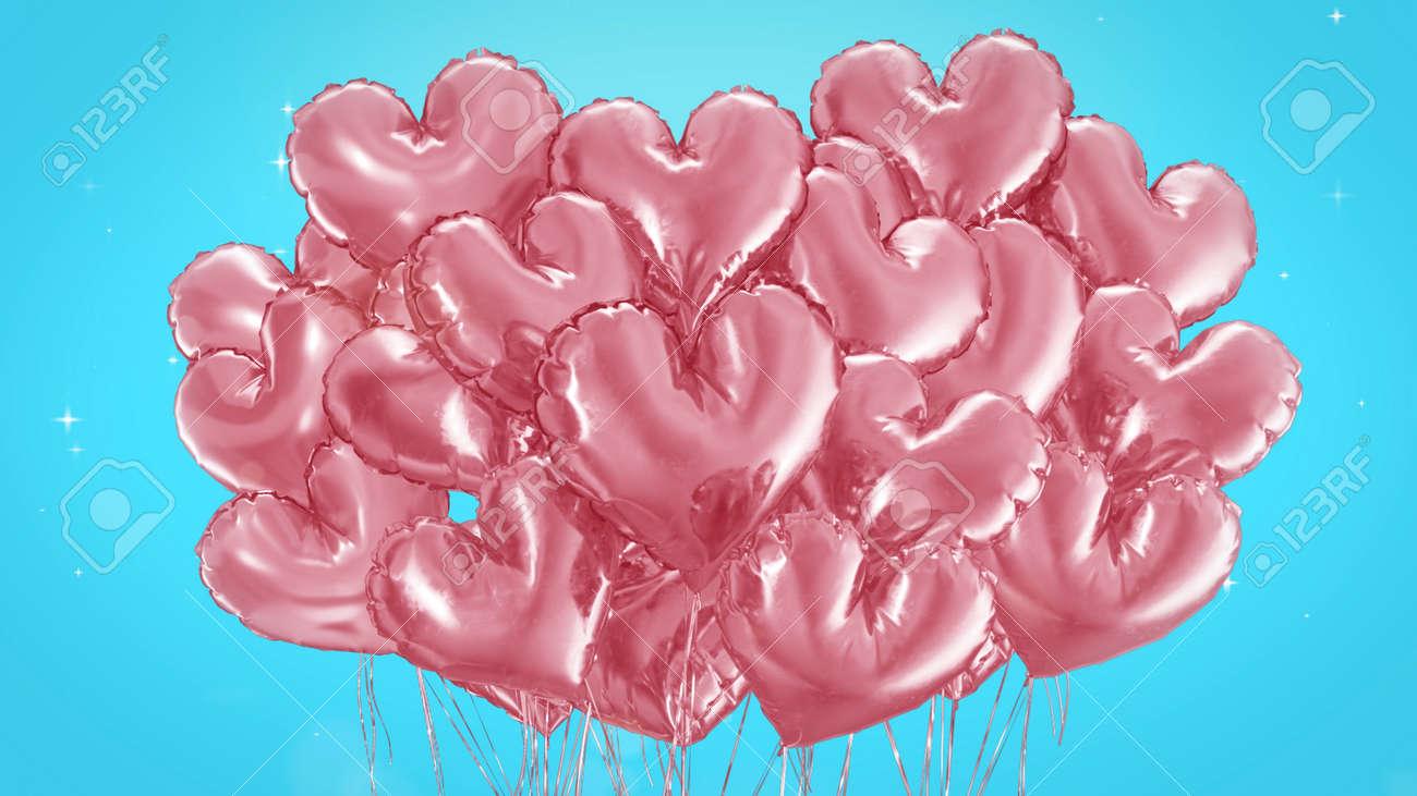 3d render Bundle of balls of hearts on a blue background - 170091181