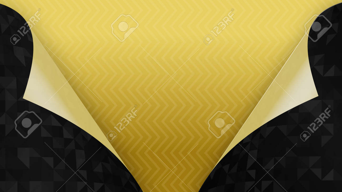 3d render two black pages turned inside out on a yellow background - 170091182