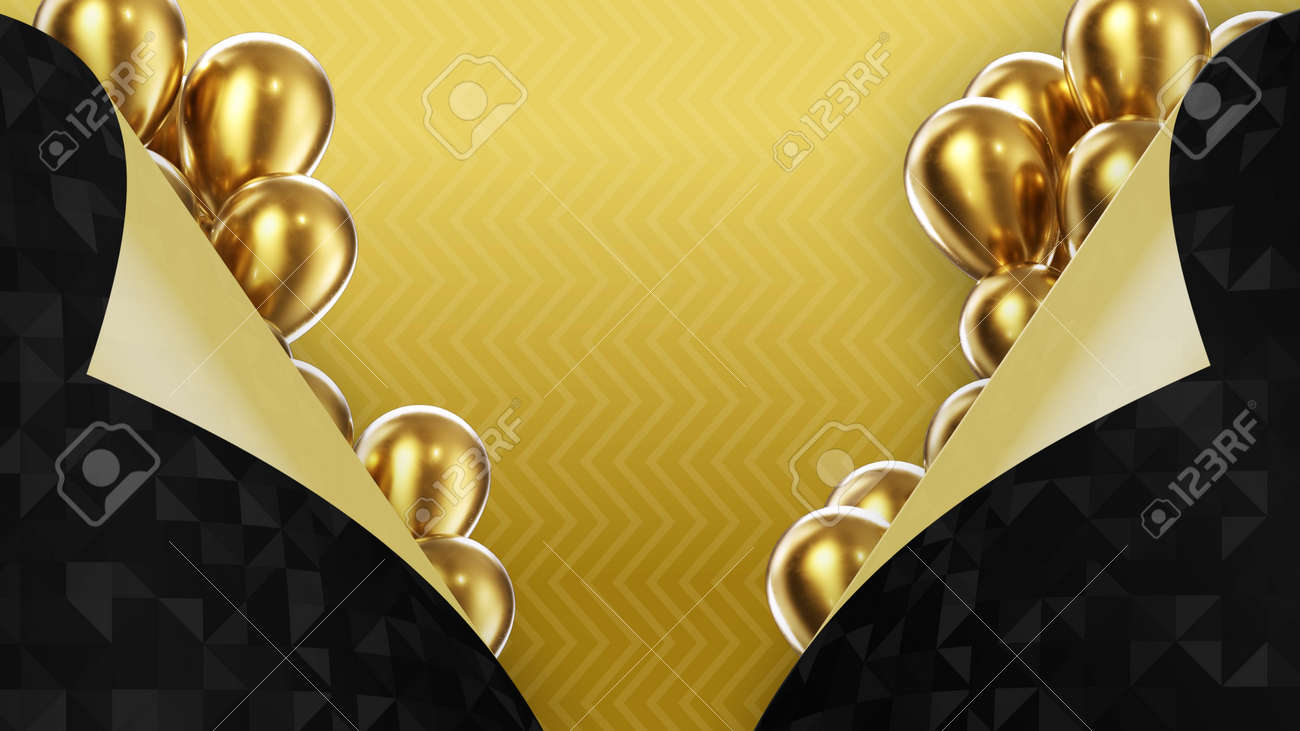 3d render two black pages turned inside out on a yellow background with golden balloons - 170091183