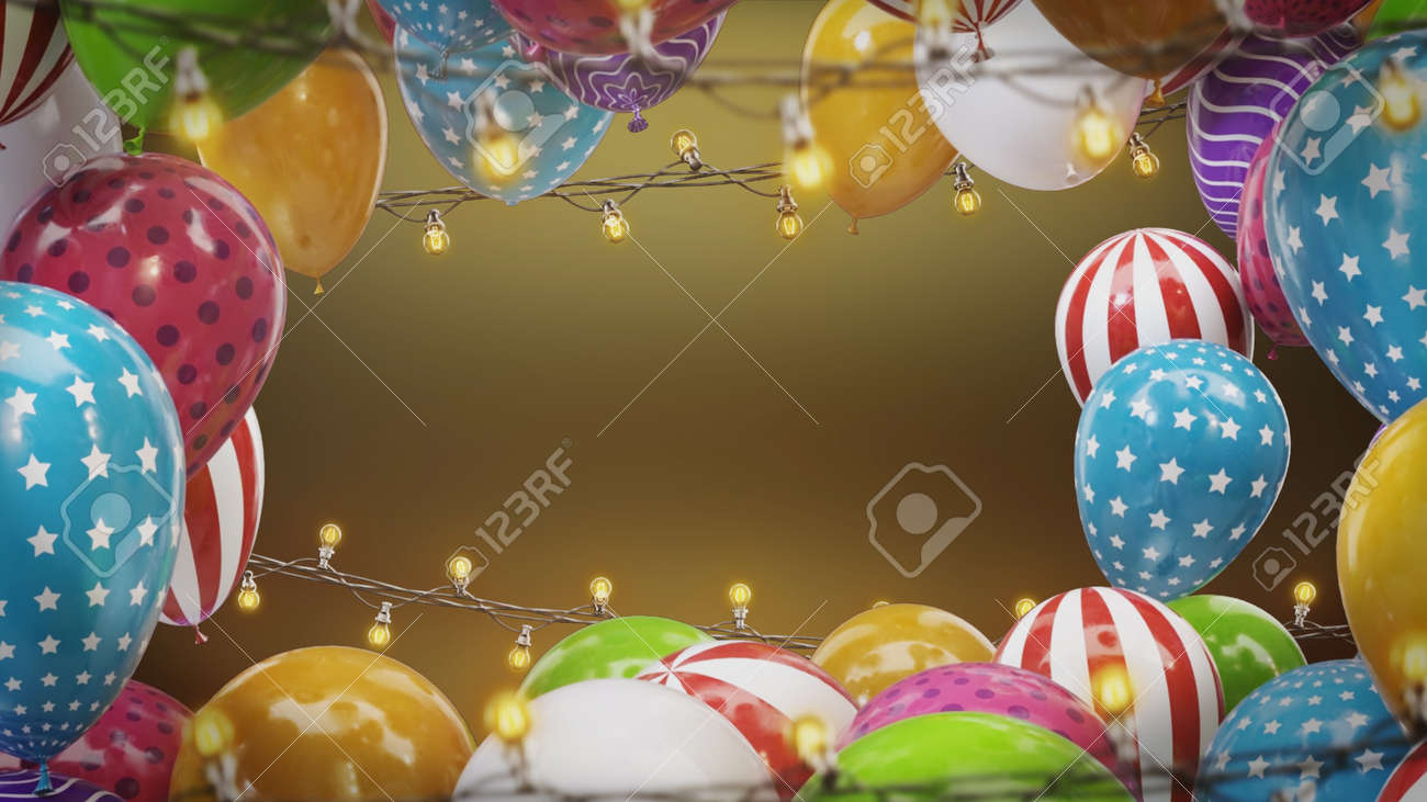 3d render Frame of colorful balloons with bulbs hanging on a wire - 170091184
