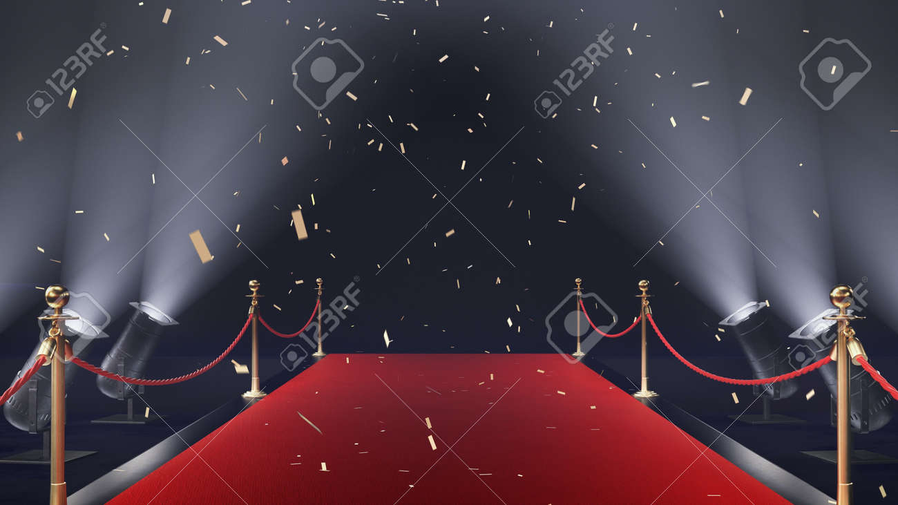 3d render red carpet with confetti and volume light - 170091188