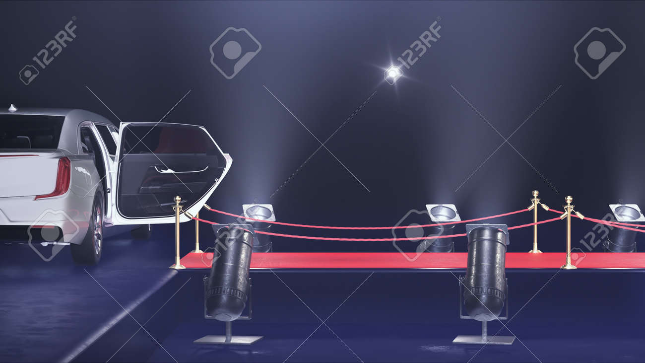 3d render red carpet with a limousine on the black background - 170091190