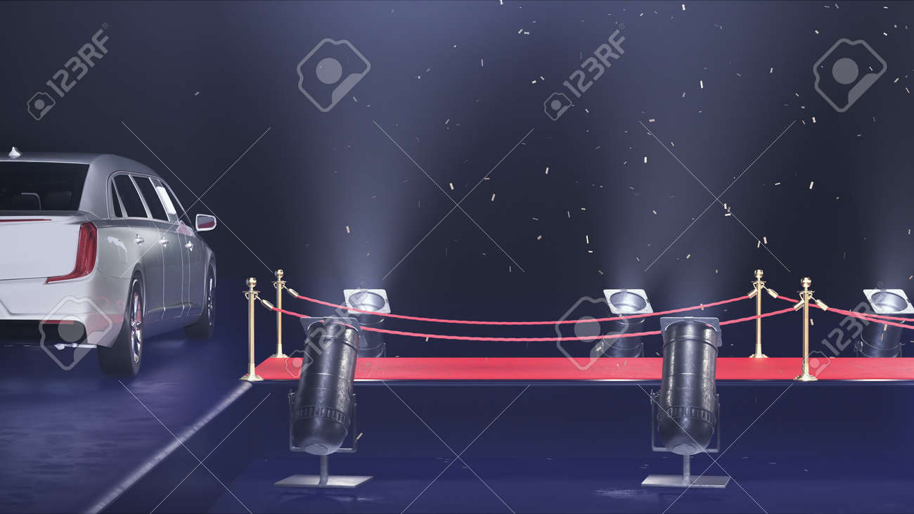 3d render red carpet with limousine and confetti - 170091232