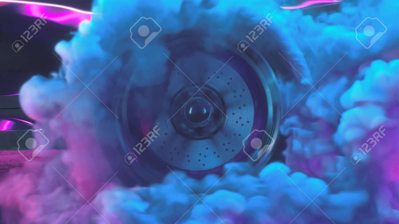 3d render Drift wheels with neon smoke cars - 170091233