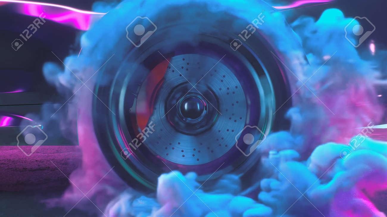 3d render Drift wheels with neon smoke cars - 170091236