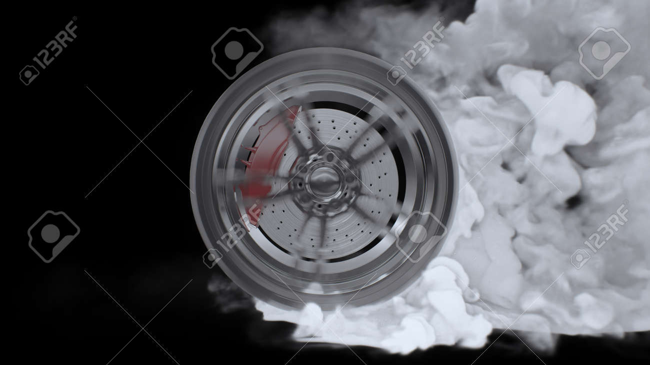 3d render Drift wheels with smoke on a black background - 170091237