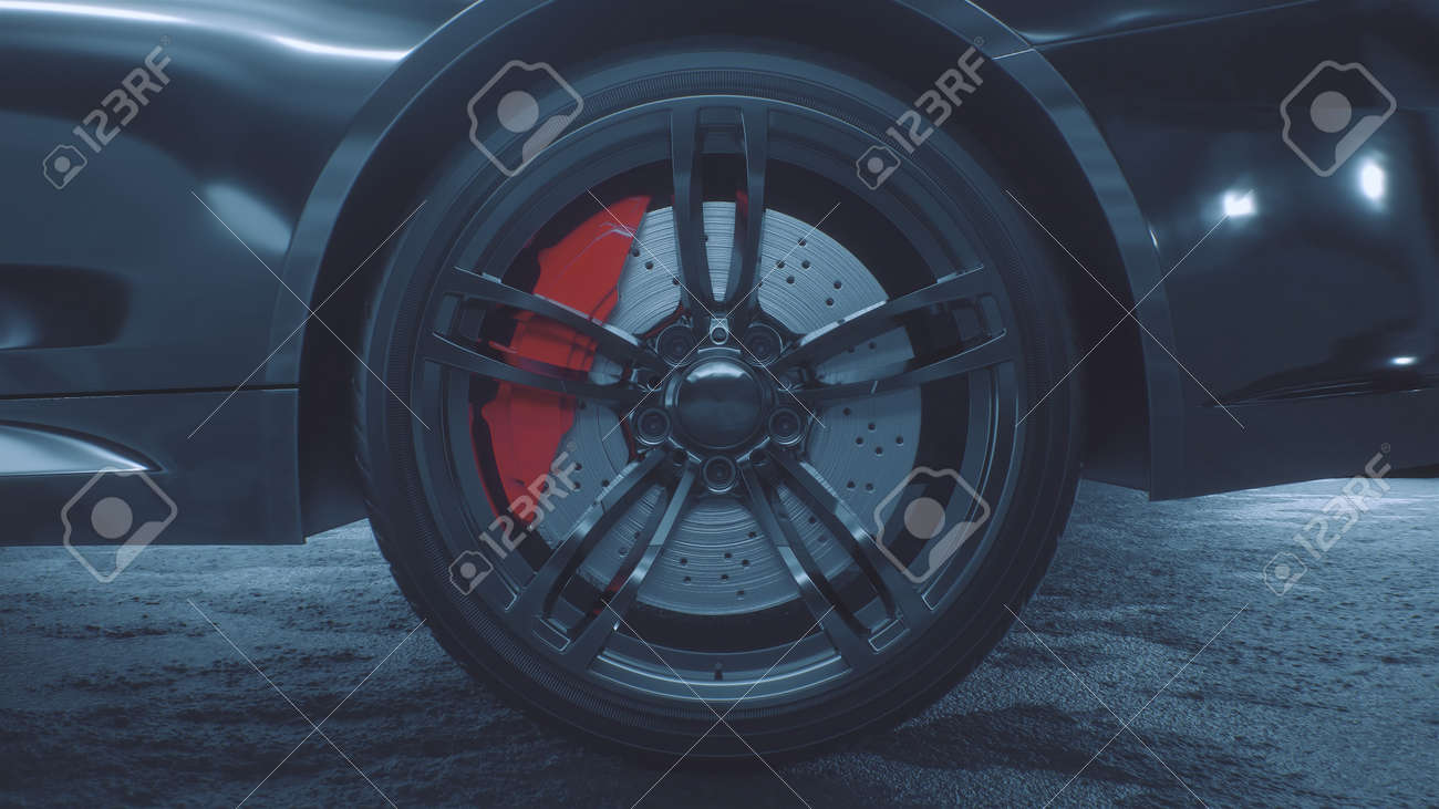 3d render of a close-up of a sports car wheel - 170091243
