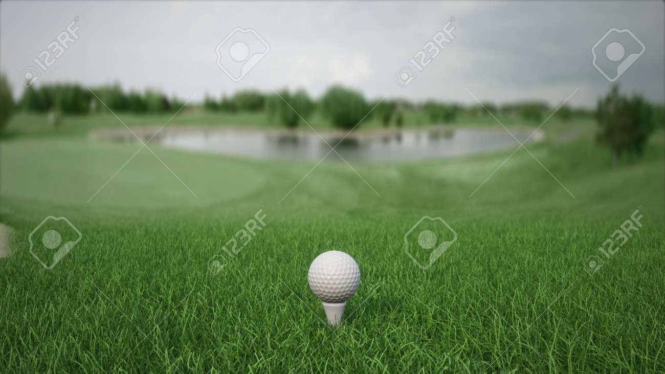 3d render golf ball with a club on the field side view - 170012069