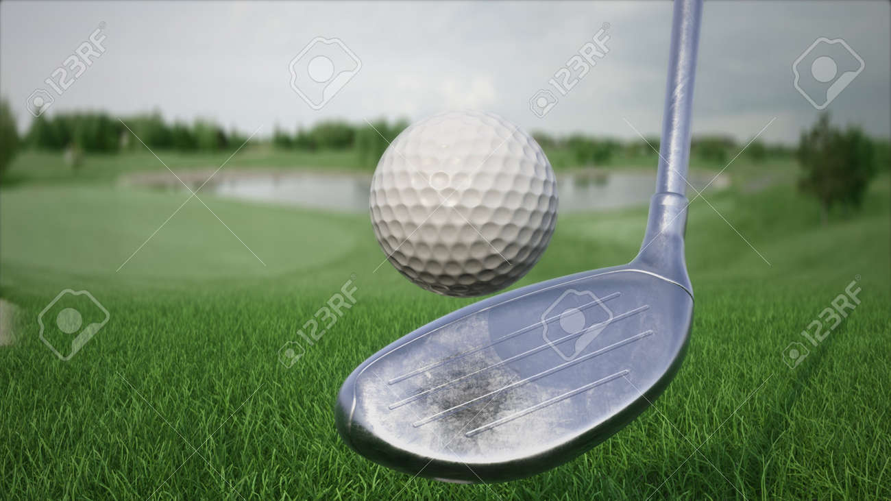 3d render hitting a golf ball with a club on the field side view - 170012070
