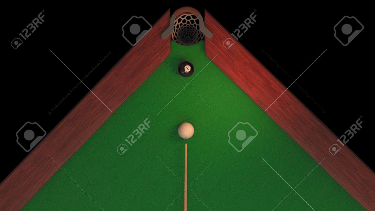 3d render billiard table from above blow on a black ball 8 it flies into the hole - 170012074