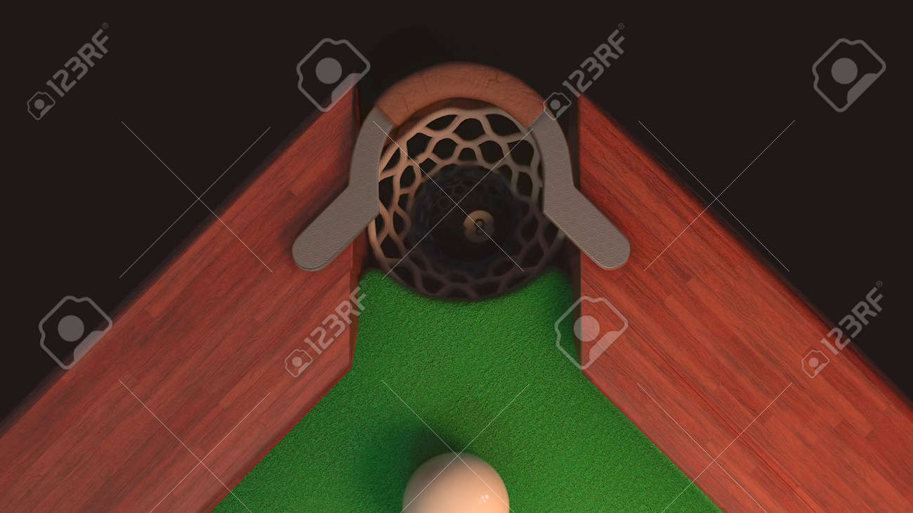 3d render billiard table from above blow on a black ball 8 it flies into the hole - 170012072