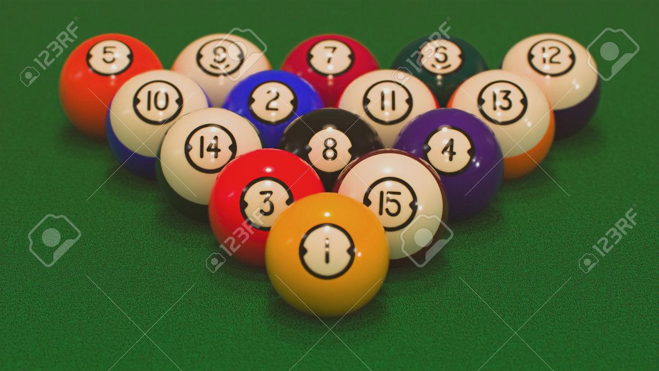 3d render rack of all billiard balls close-ups - 170012073