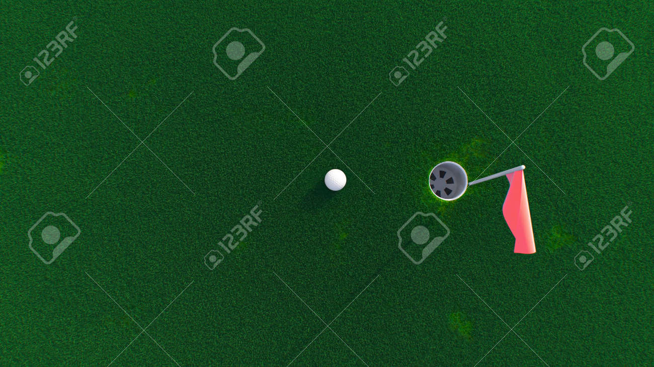 3d render golf ball rolls across the course into a hole top view - 170012081