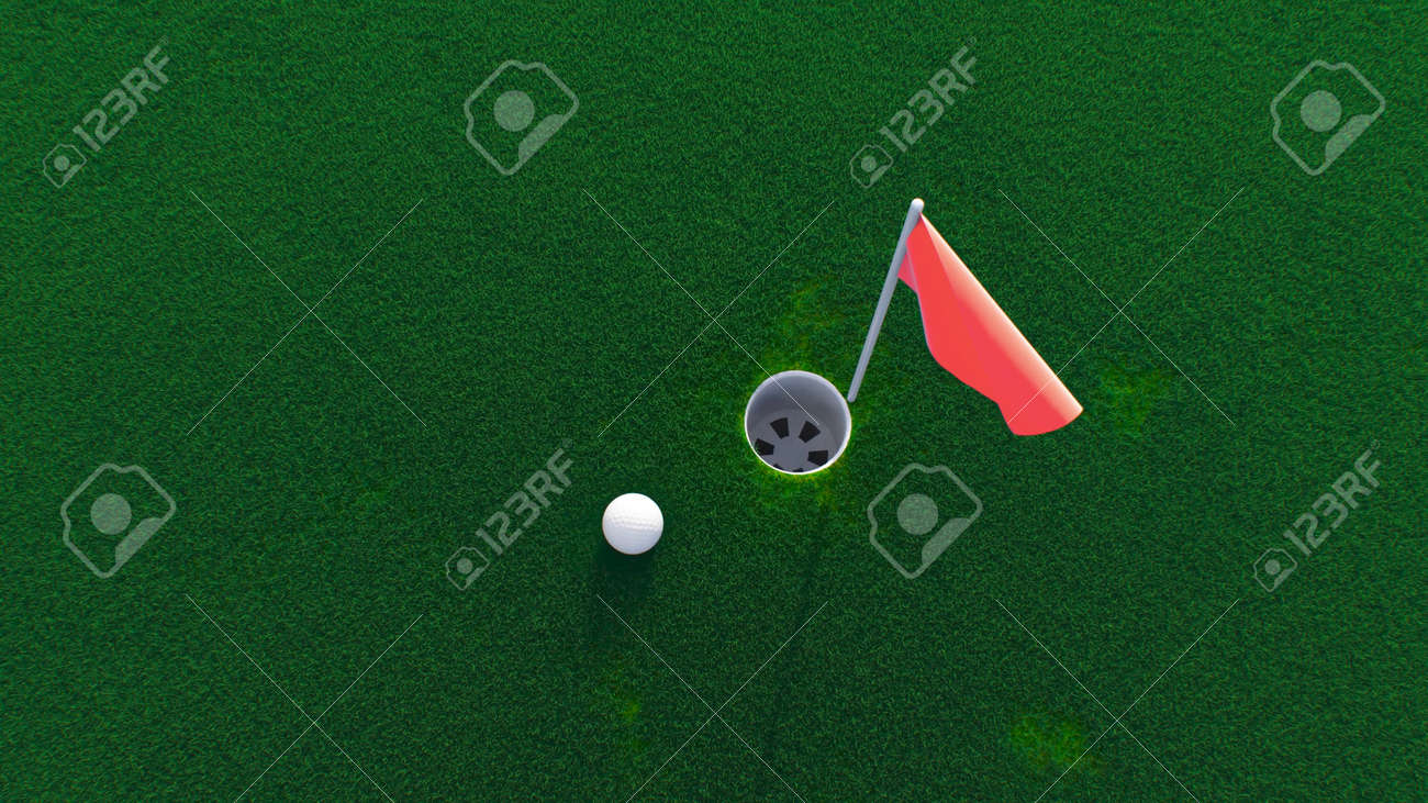 3d render golf ball rolls across the course into a hole top view - 170012079