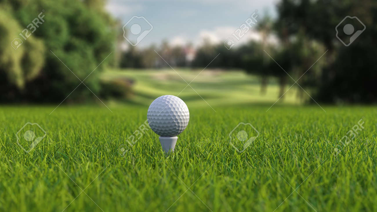 3d render golf ball with a club on the field side view - 170012077
