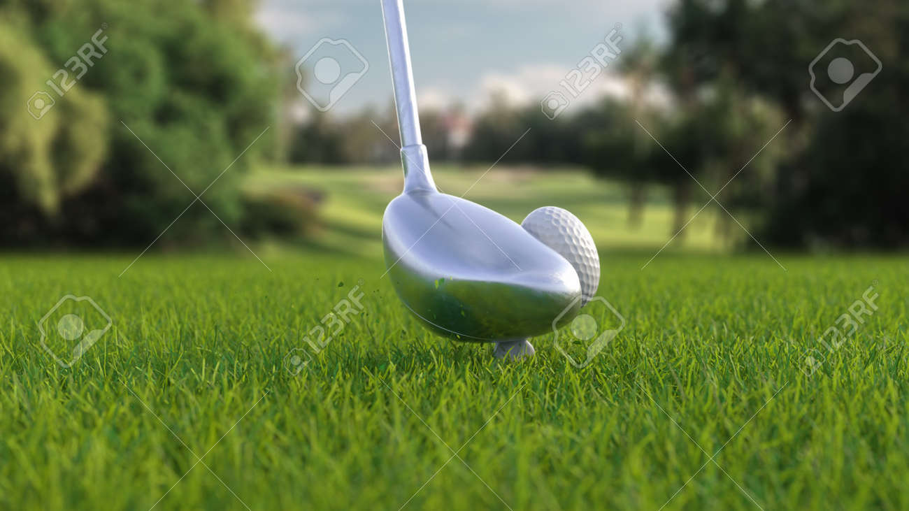 3d render hitting a golf ball with a club on the field side view - 170012076