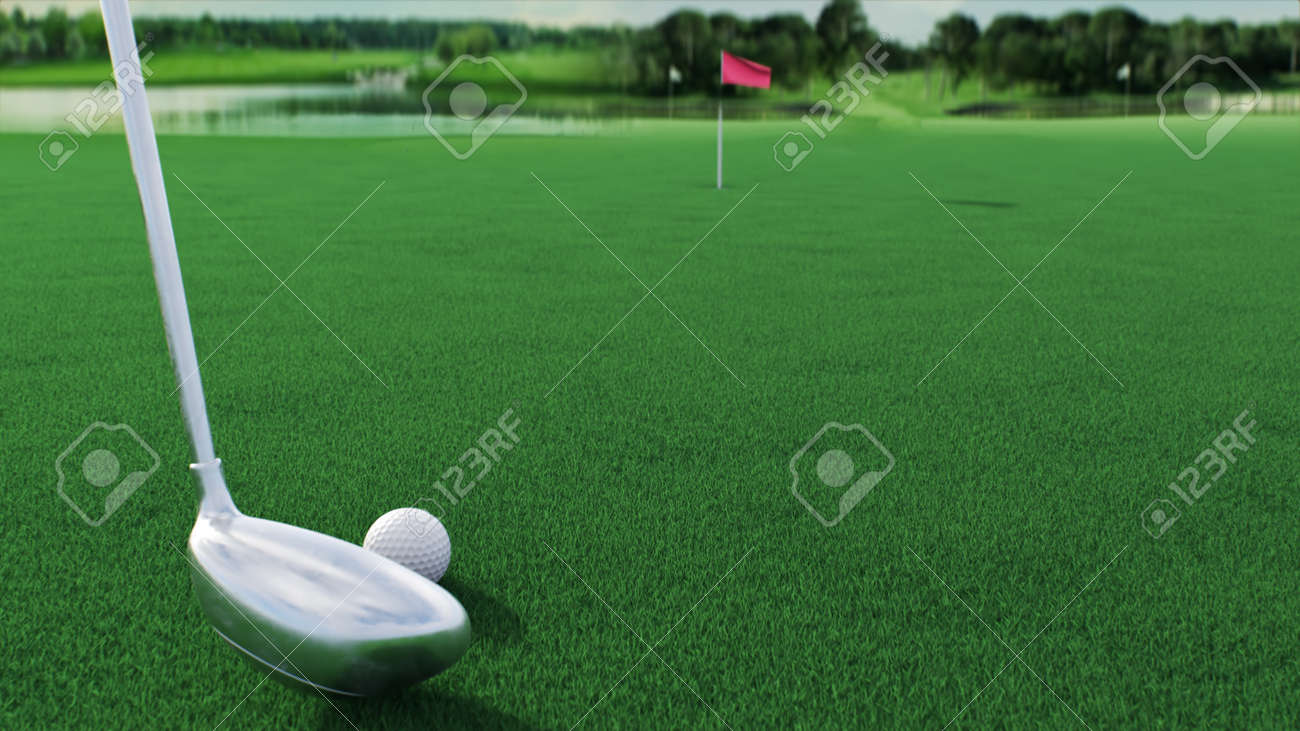 3d render hitting a golf ball with a club on the field side view - 170012080