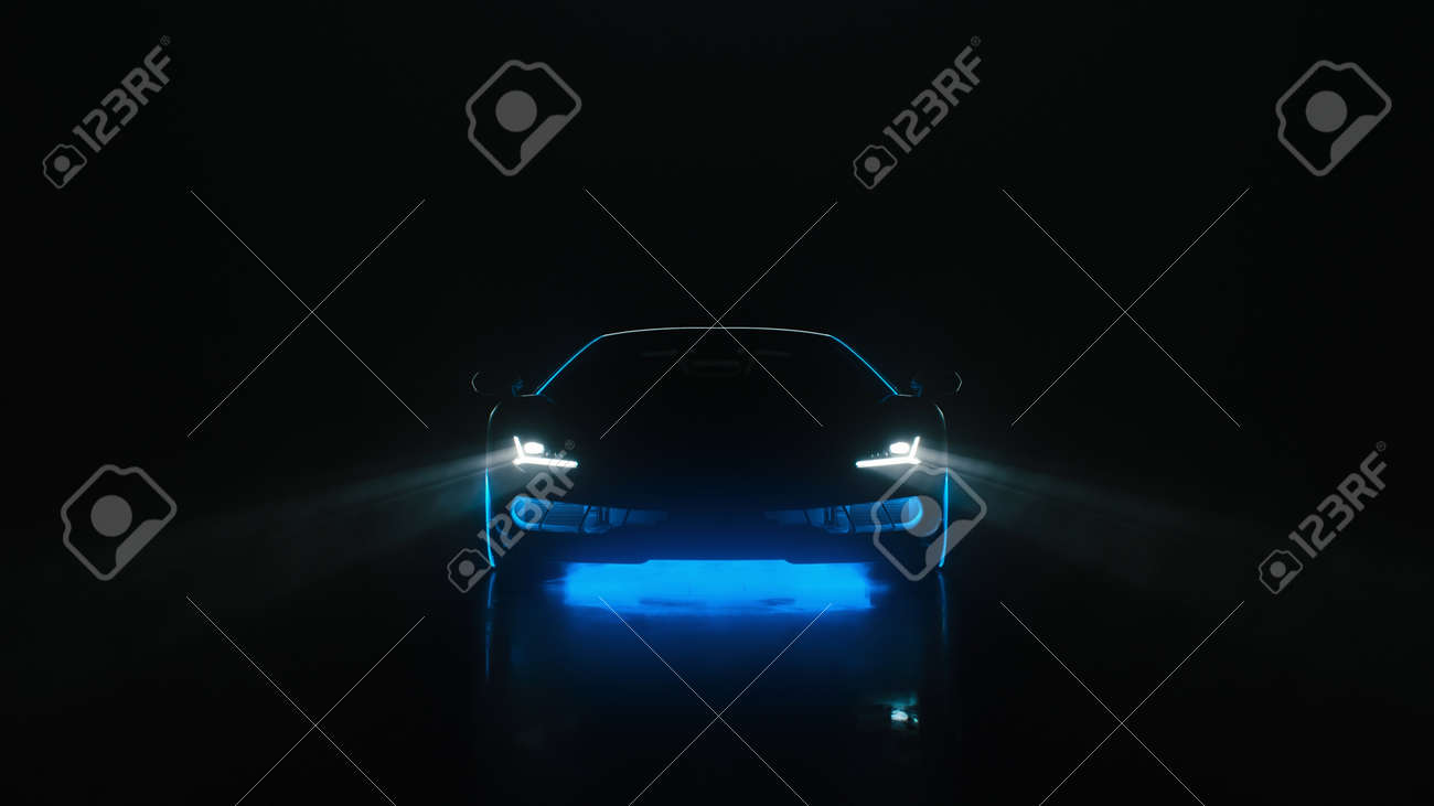 3d render sports car with neon lights goes to the camera on a black background - 171635455