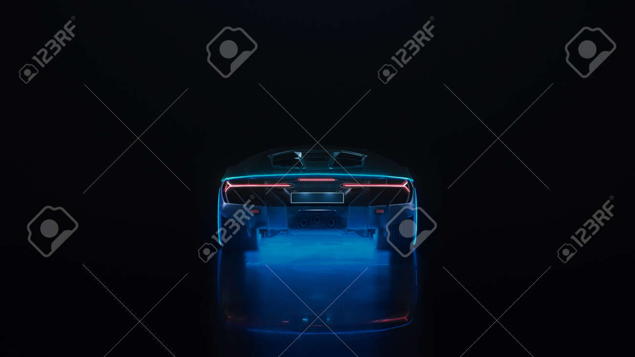 3d render sports car with neon lights drives off into the distance on a black background - 171635457