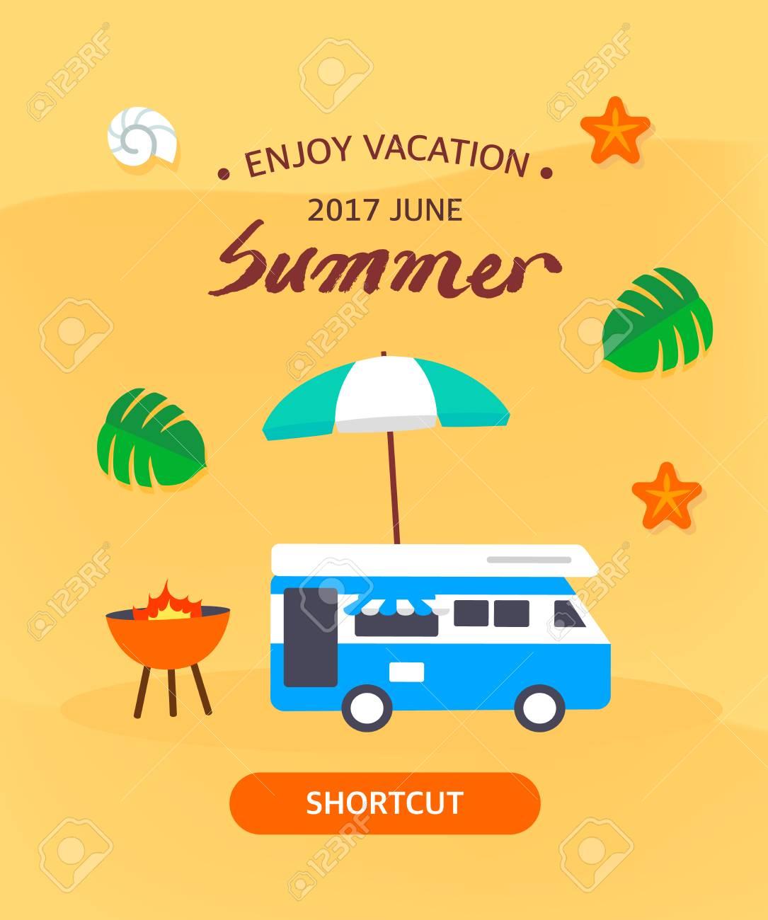 Summer template illustration - 81067300