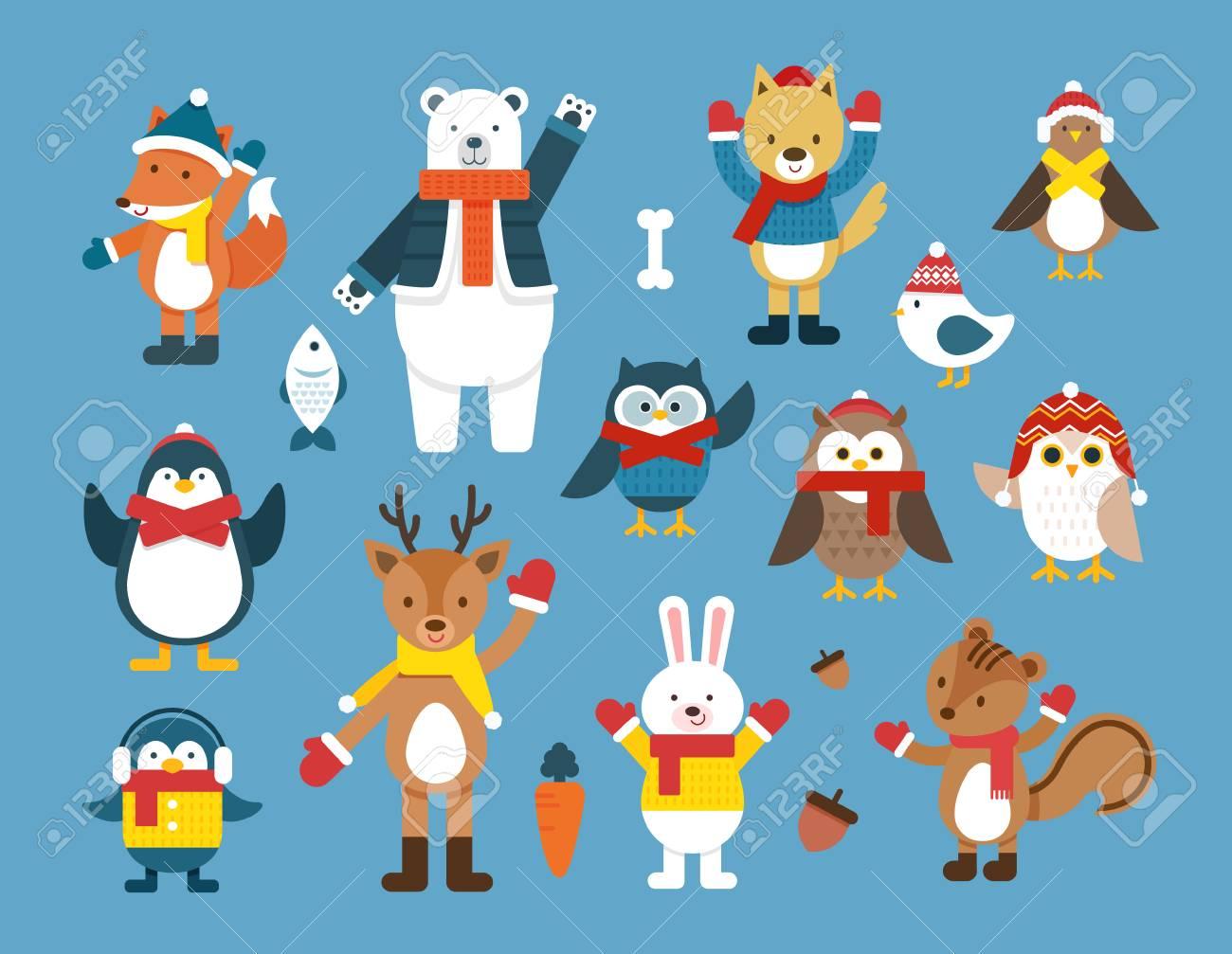 冬の動物イラスト ロイヤリティフリークリップアート、ベクター