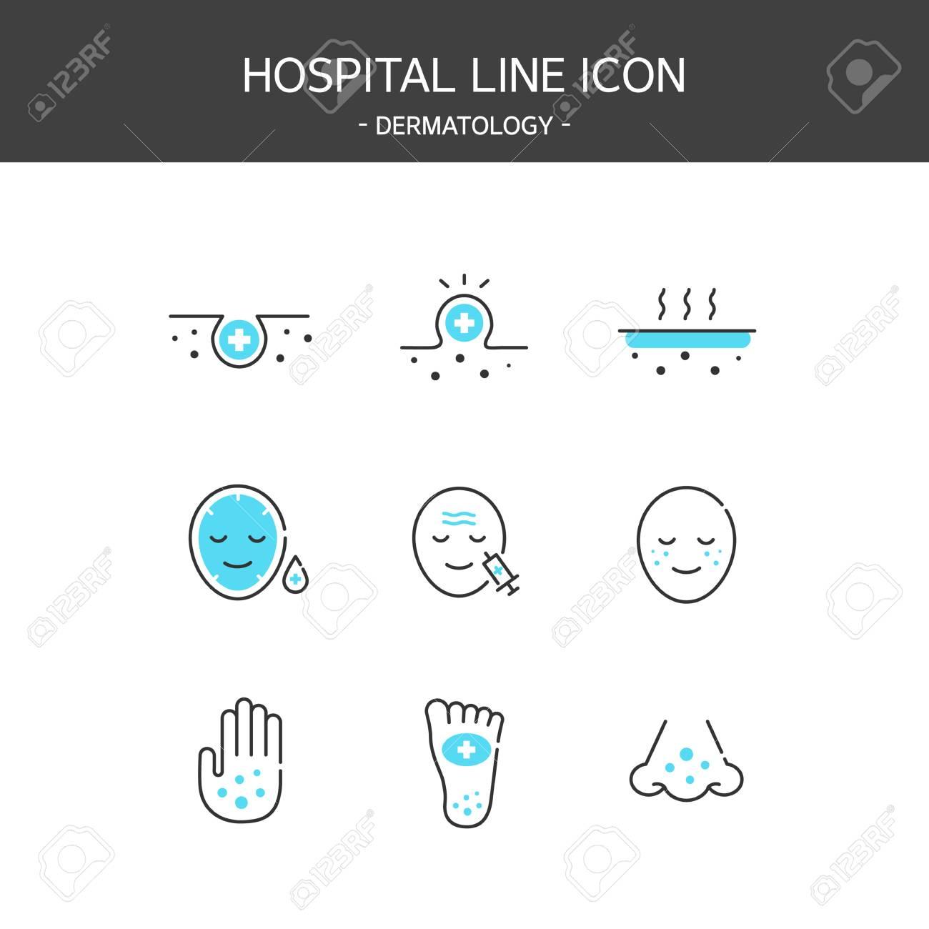 Medical elements outline icons set. Dermatology - 119463614