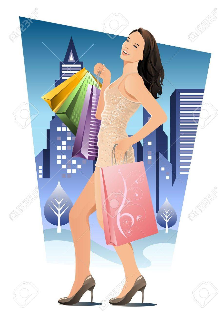 A beautiful woman carried a lot of shopping bags and walking in the city at night. Stock Vector - 10257409