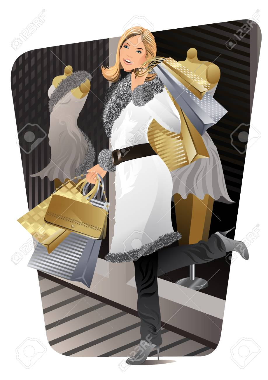 A beautiful woman carried shopping bags during sales. Stock Vector - 10257424