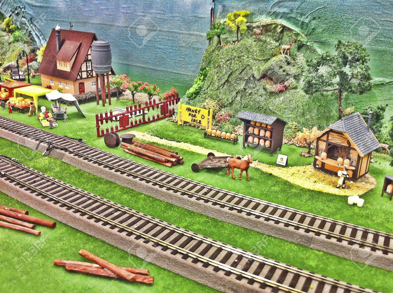 toy farm and train track background stock photo picture and