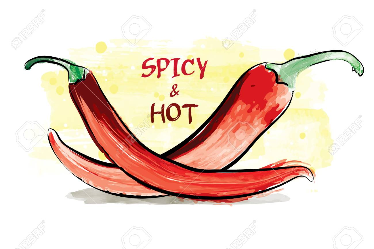 ba07a3942861 Watercolor Spicy And Hot Chilli Peppers. Royalty Free Cliparts ...