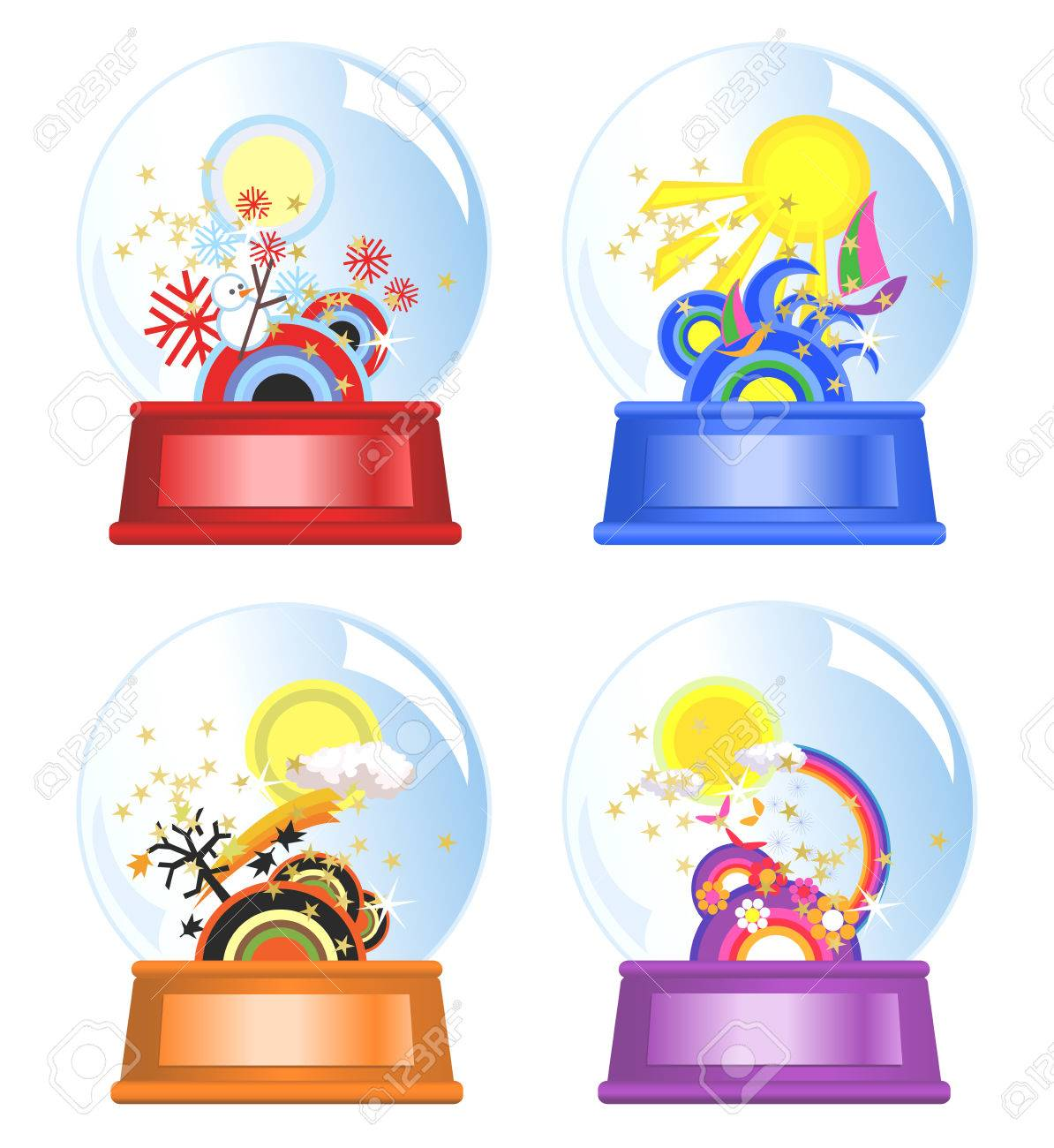 Water globes of four seasons Stock Vector - 3944446