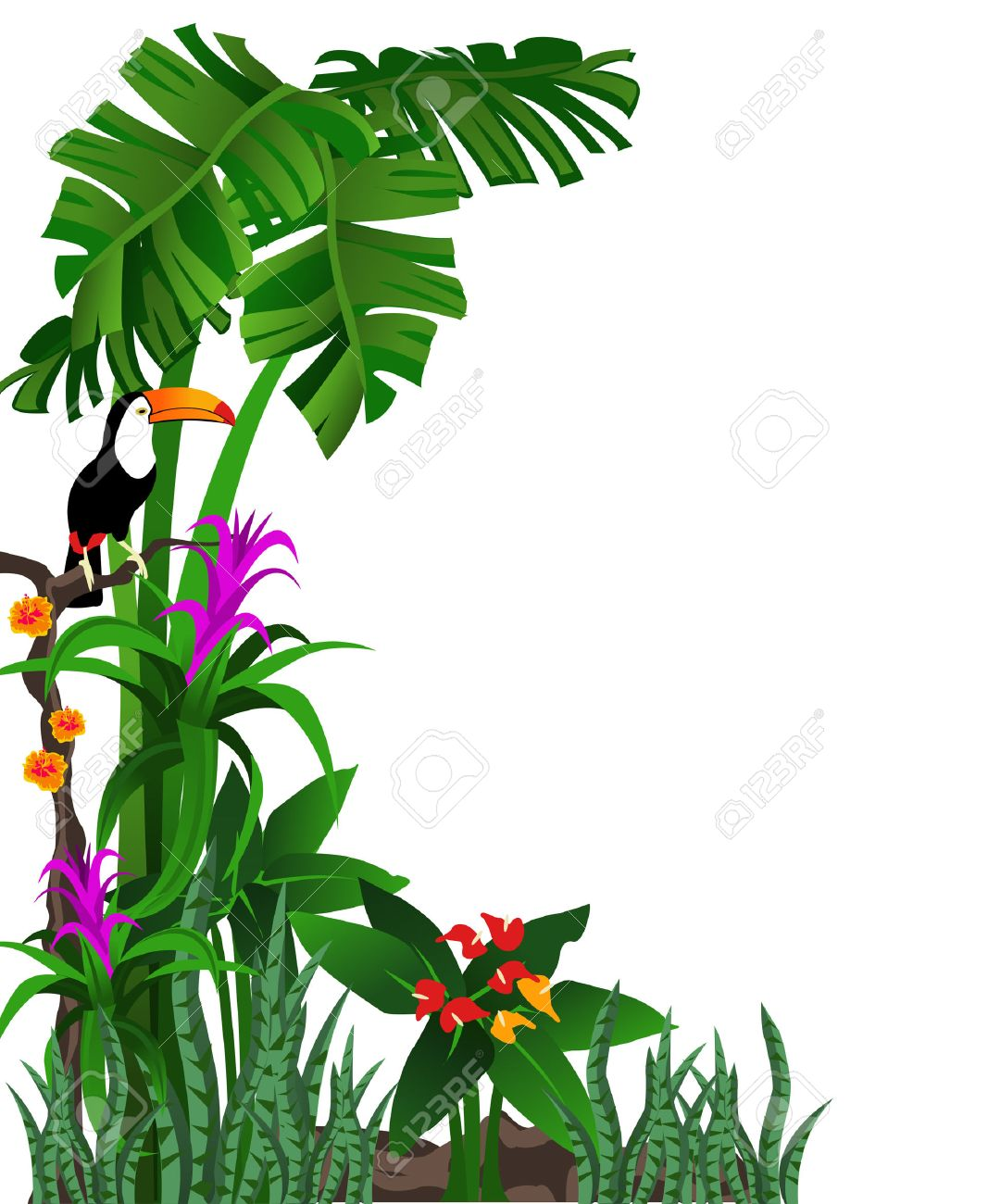 background illustration of a tropical forest with flowers and rh 123rf com  tropical rainforest clipart