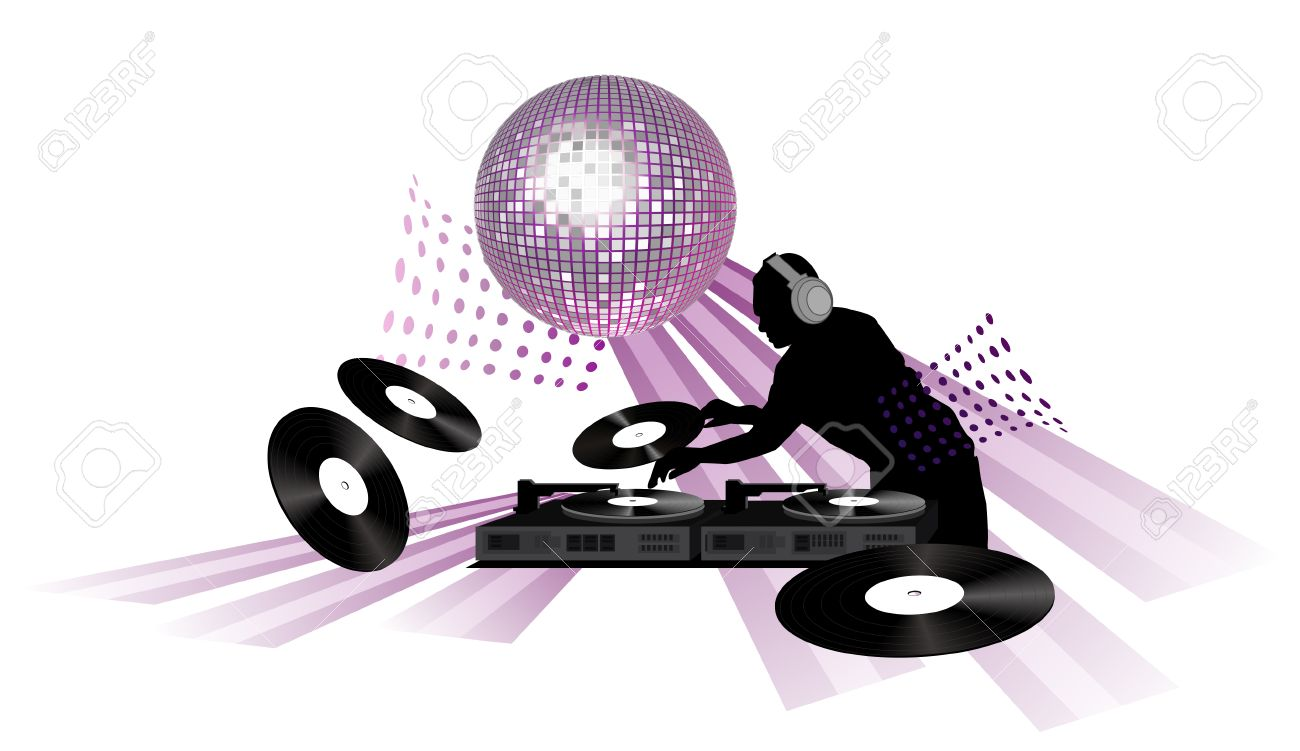 Clip-art With Dj, Records, Turntable And Shining Disco Ball ...