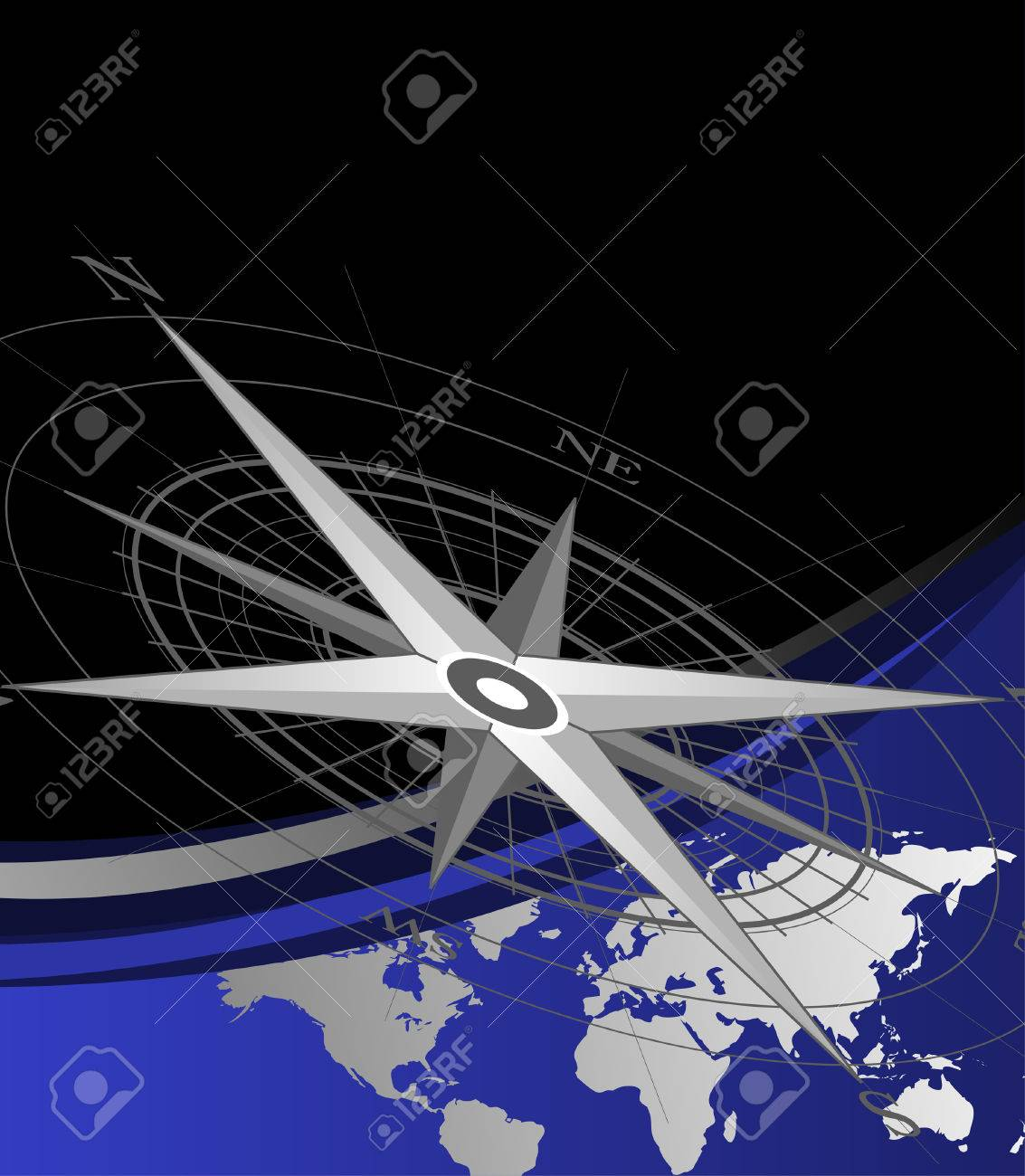 Abstract background with compass icon and world map Stock Vector - 4557207