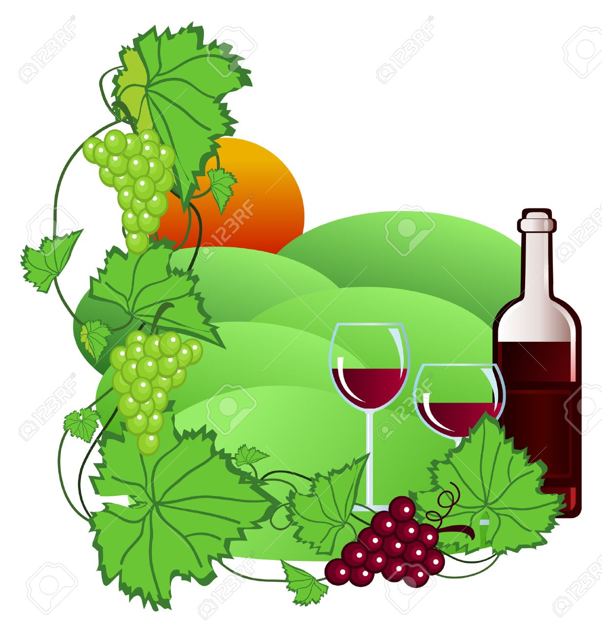 Clip-art Of Wine And Vineyard Royalty Free Cliparts, Vectors, And ...