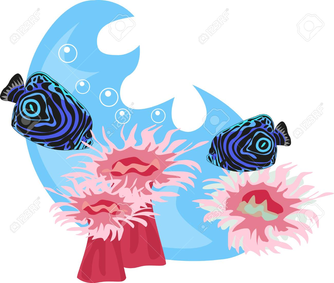 Tropical underwater illustration isolated on white background Stock Vector - 8705878