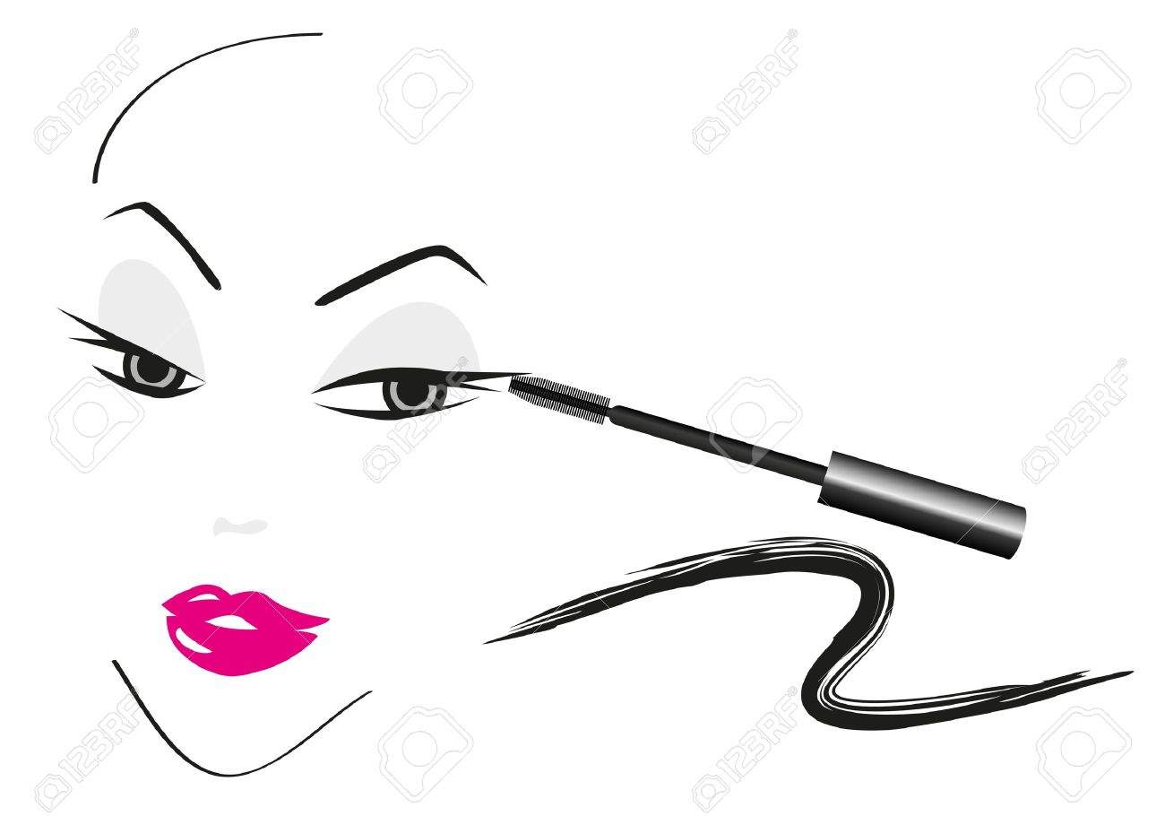 Face Sketch made with Make Up Accessories Stock Vector - 9055740