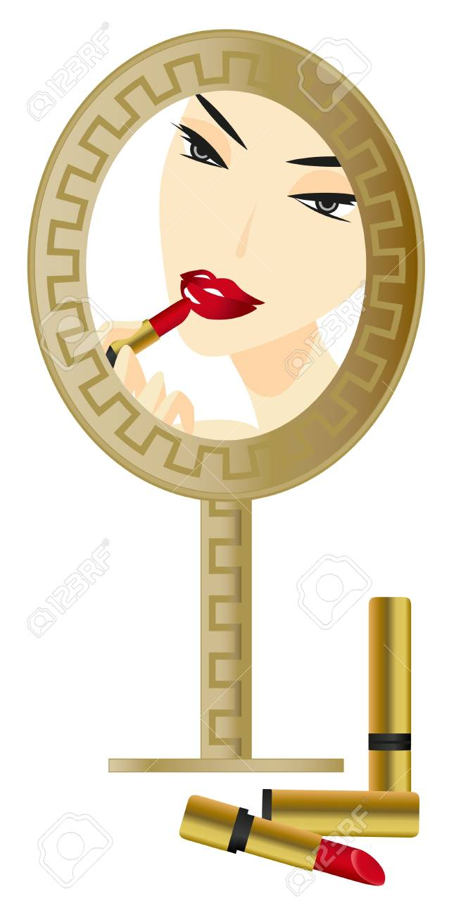 Woman in the Mirror with make up accessories Stock Vector - 9055725