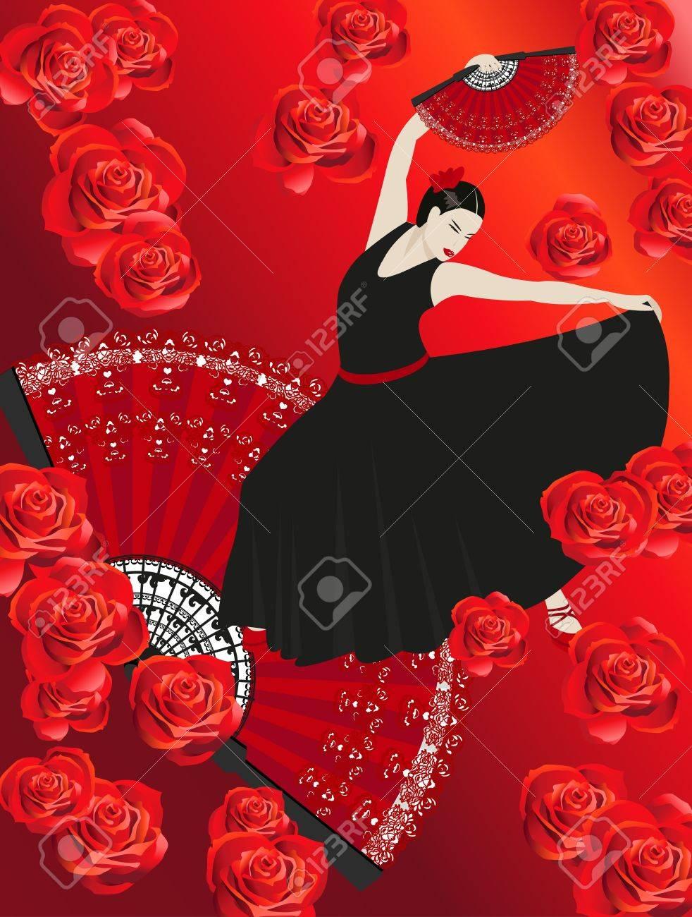 Illustration of a flamenco dancer holding a fan Stock Vector - 9572461
