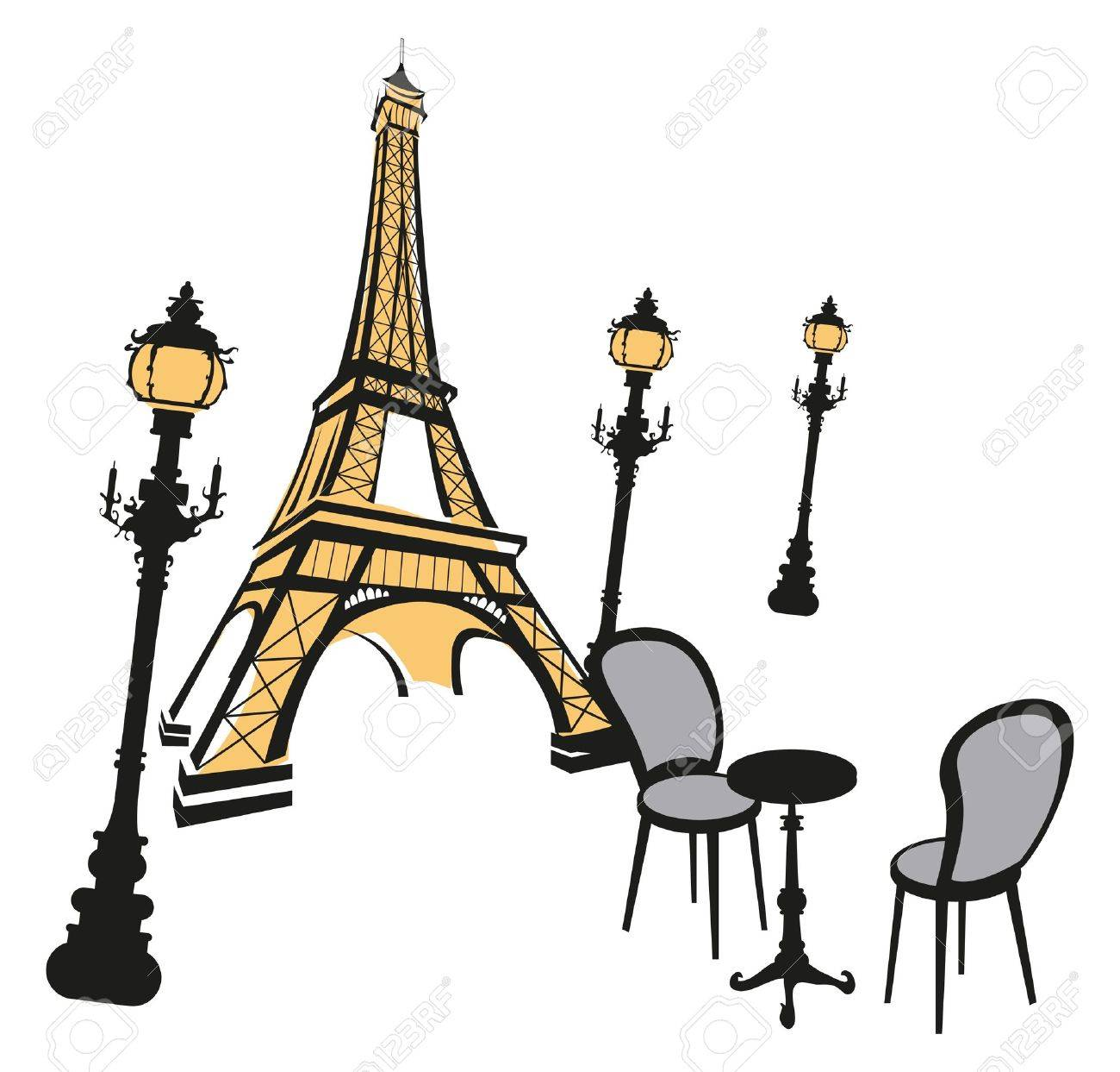 Eiffel Tower sketch with street lights on white Stock Vector - 9812064