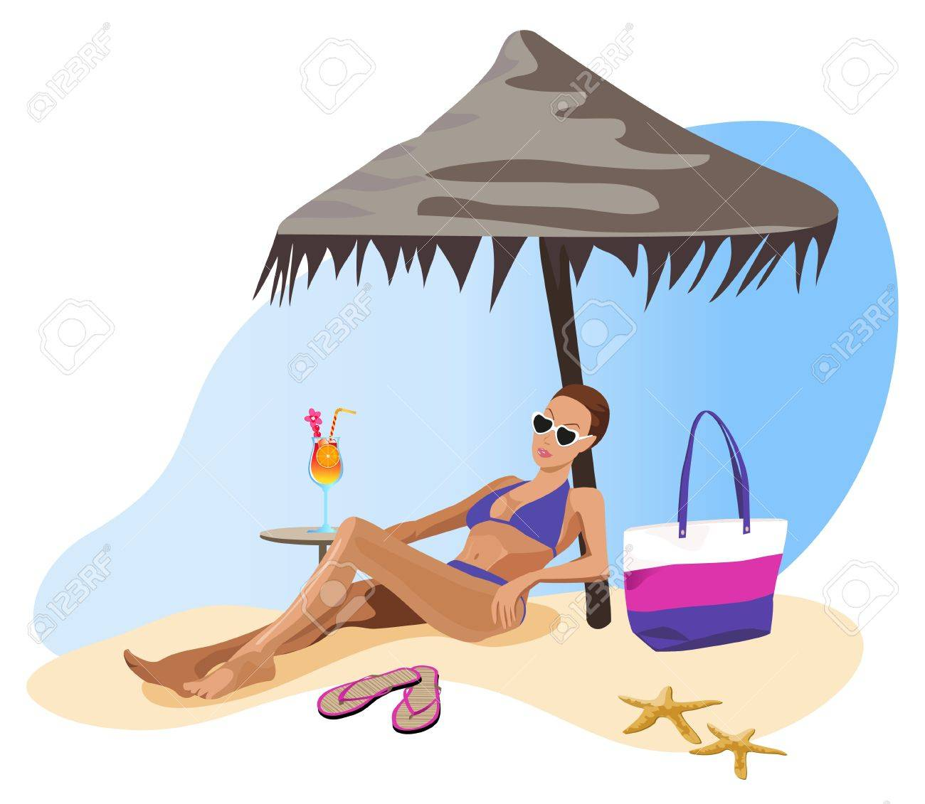 illustration of a woman chilling out on the beach royalty free rh 123rf com