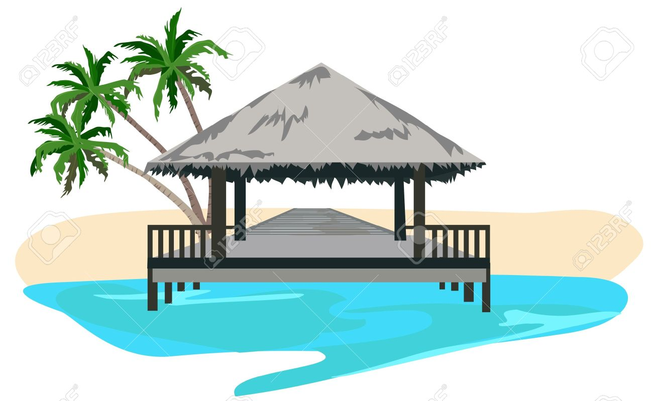 Maldives island resort illustration isolated on white background Stock Vector - 9944113
