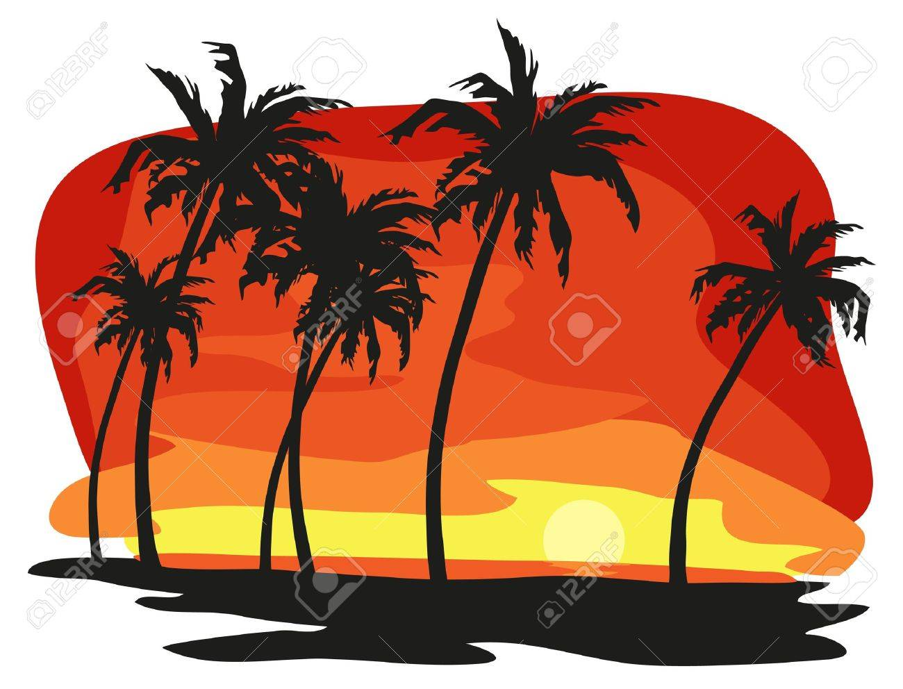 Tropical landscape illustration isolated on white background Stock Vector - 9944117