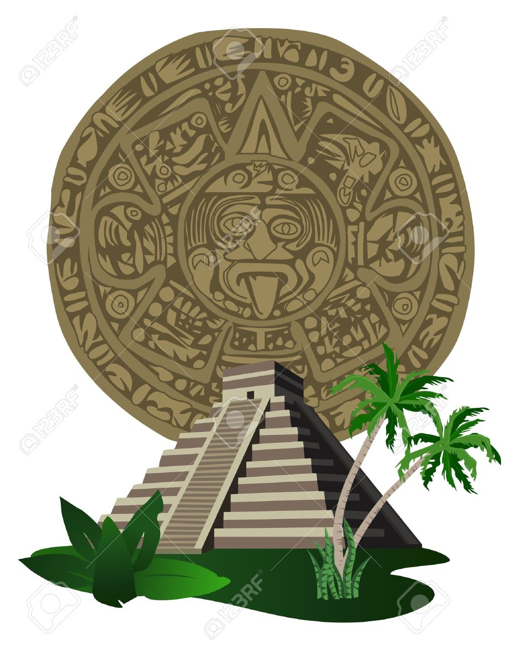 Illustration With Ancient Mayan Pyramid And Calendar Royalty Free ...