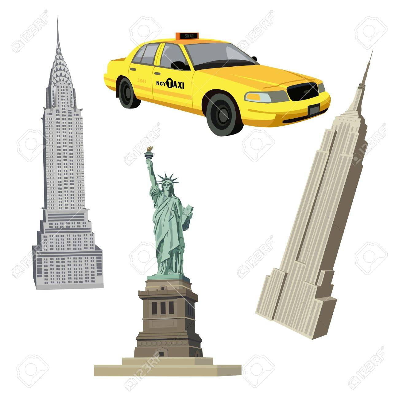 Illustration with Statue of Liberty, Chrysler, Empire State Buildings and a New York City  taxi Stock Vector - 10626914