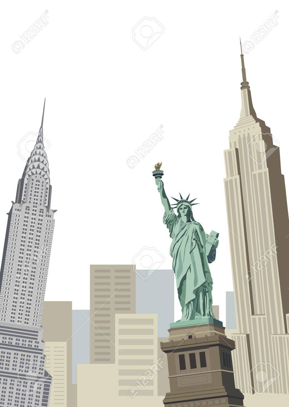 Background illustration with Statue of Liberty and New York skyscrapers Stock Vector - 10626907