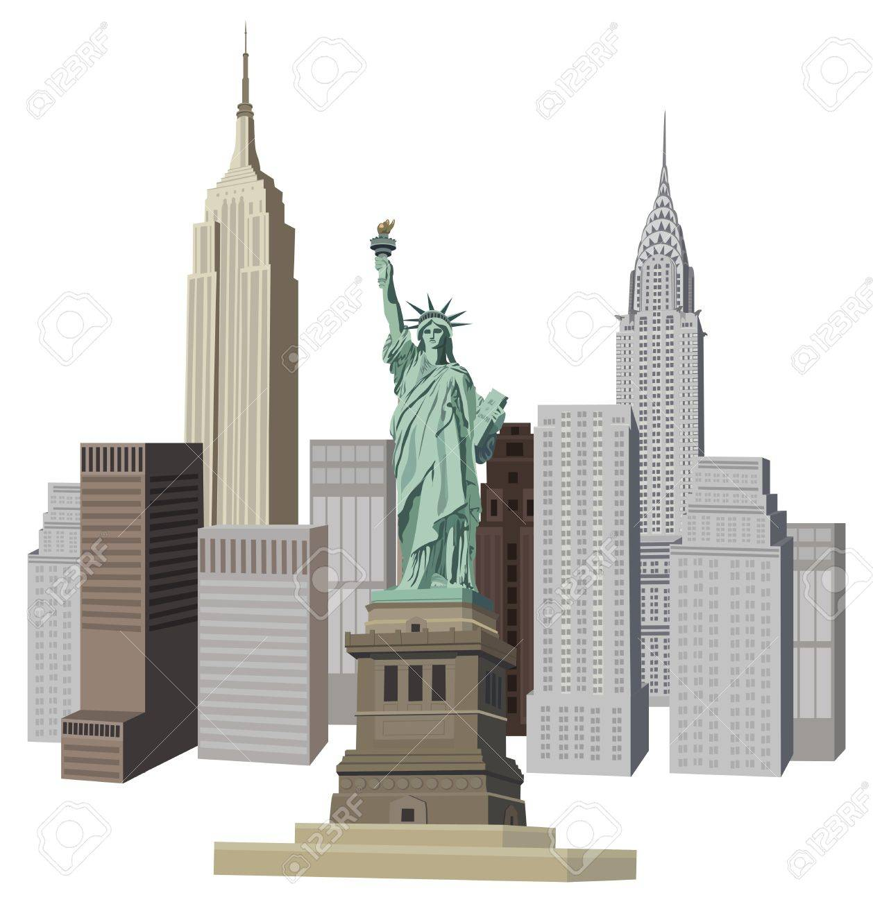 illustration with new york city skyline and liberty statue royalty rh 123rf com new york clipart skyline new york clip art free