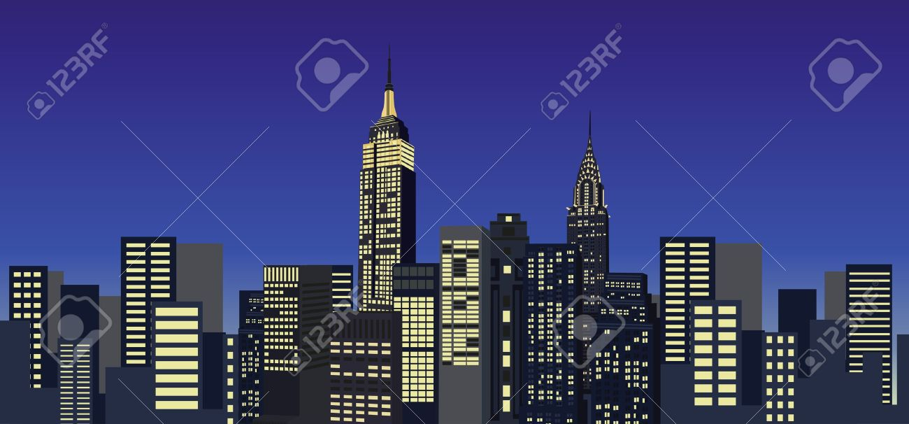 Background illustration with New York City skyline Stock Vector - 10626911