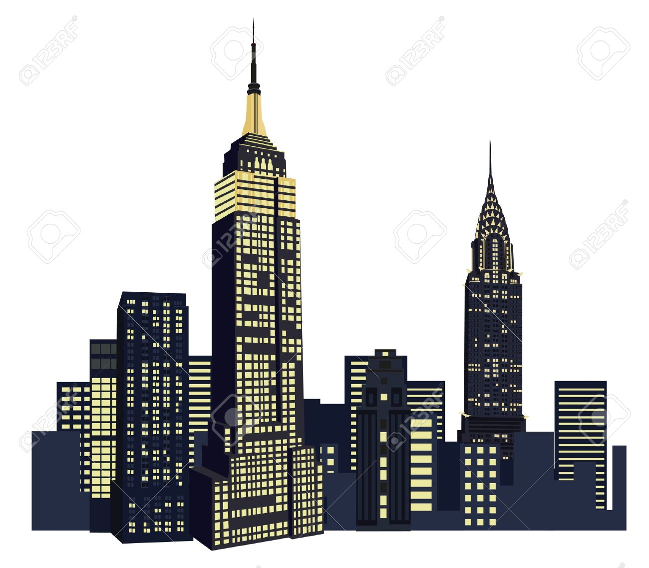Illustration with New York City Skyline isolated on white background Stock Vector - 10626902